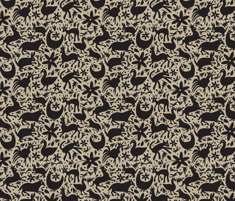 Mexico Springtime: Black on Linen (Small Scale) fabric by sammyk on Spoonflower - custom fabric