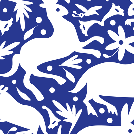 Mexico Springtime: White on Cobalt (Large Scale) fabric by sammyk on Spoonflower - custom fabric