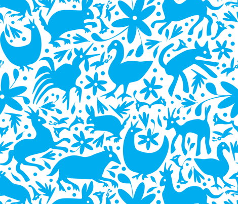Mexico Springtime: Turquoise on White (Large Scale) fabric by sammyk on Spoonflower - custom fabric