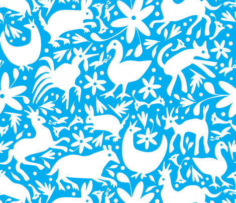Mexico Springtime: White on Turquoise (Large Scale) fabric by sammyk on Spoonflower - custom fabric