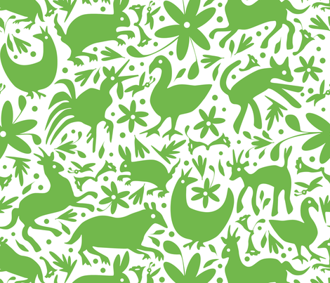 Mexico Springtime: Jade on White (Large Scale) fabric by sammyk on Spoonflower - custom fabric