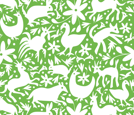 Mexico Springtime: White on Jade (Large Scale) fabric by sammyk on Spoonflower - custom fabric