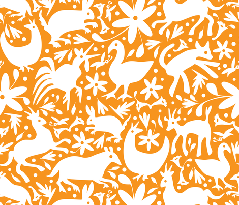 Mexico Springtime: White on Orange (Large Scale) fabric by sammyk on Spoonflower - custom fabric