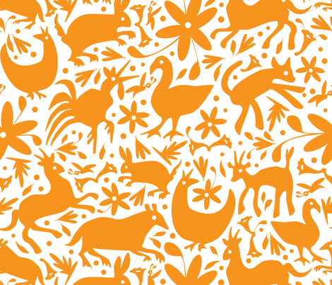 Mexico Springtime: Orange on White (Large Scale) fabric by sammyk on Spoonflower - custom fabric
