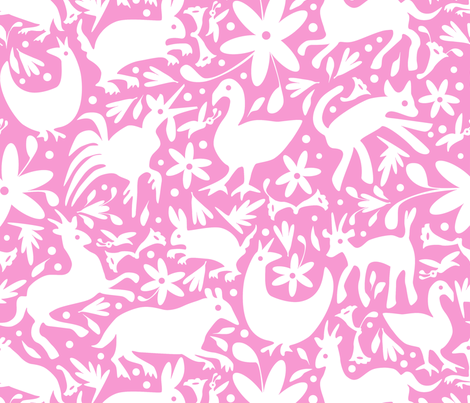 Mexico Springtime: White on Light Pink (Large Scale) fabric by sammyk on Spoonflower - custom fabric