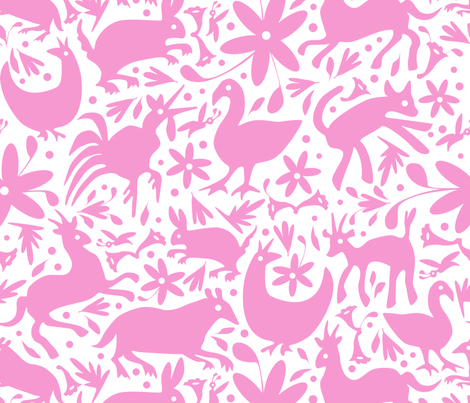 Mexico Springtime: Light Pink on White (Large Scale) fabric by sammyk on Spoonflower - custom fabric