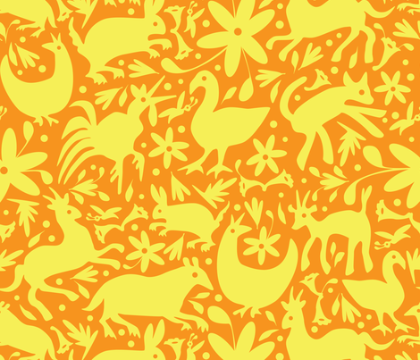 Mexico Springtime: Yellow on Tangerine (Large Scale) fabric by sammyk on Spoonflower - custom fabric