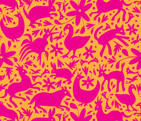 Mexico Springtime: Pink on Tangerine (Large Scale) fabric by sammyk on Spoonflower - custom fabric
