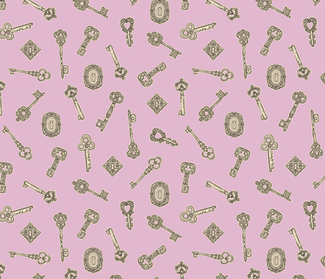 Antique Keys Lilac and Silver fabric by teja_jamilla on Spoonflower - custom fabric