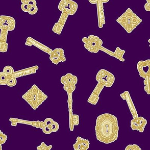 Antique Keys Purple and Gold