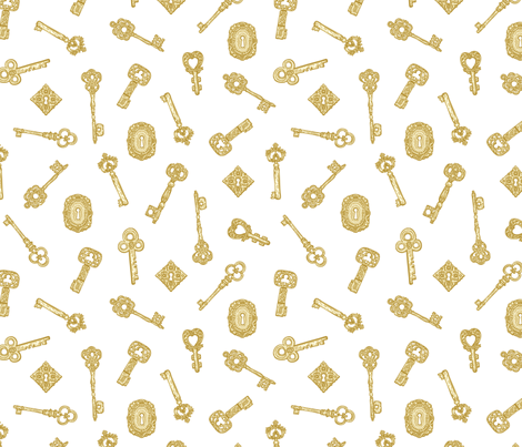Antique Keys White Gold fabric by teja_jamilla on Spoonflower - custom fabric