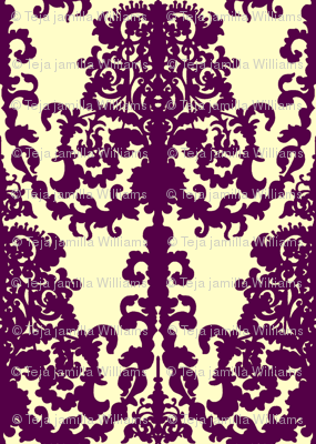 Ornate Gate damask purple on cream