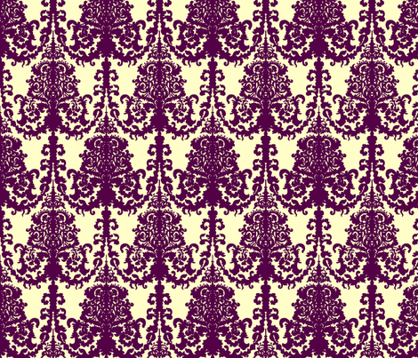 Ornate Gate damask purple on cream fabric by teja_jamilla on Spoonflower - custom fabric