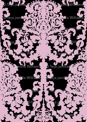 Ornate Gate damask black lavender