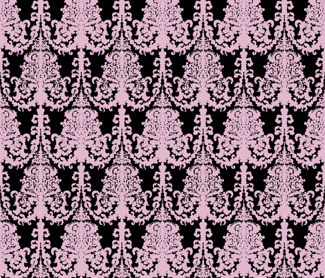 Ornate Gate damask black lavender fabric by teja_jamilla on Spoonflower - custom fabric