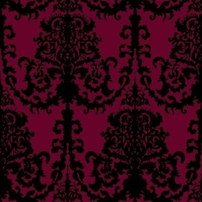 Ornate Gate Damask Black on Bordeaux