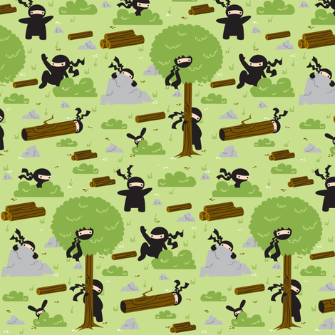 Ninja Forest fabric by katiedots on Spoonflower - custom fabric
