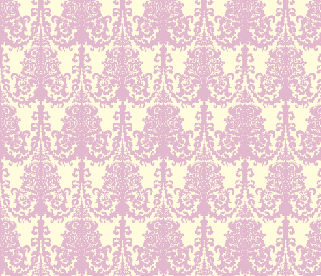 Ornate Gate Damask Lavender on White fabric by teja_jamilla on Spoonflower - custom fabric