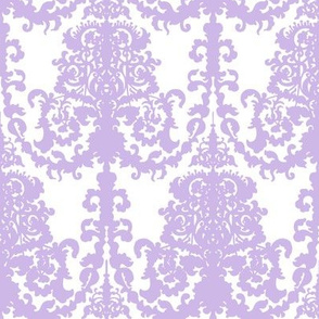 Ornate Gate Damask Lavender on White