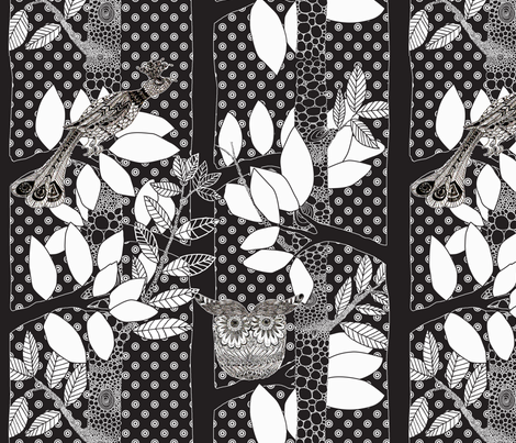 """arbre magique pois fond noir"" fabric by nadja_petremand on Spoonflower - custom fabric"