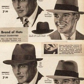 Mens hats from the 1950's