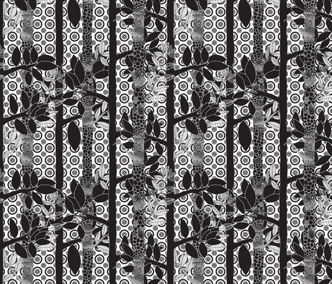 forêt_magique_noir_fond_blanc_ fabric by nadja_petremand on Spoonflower - custom fabric