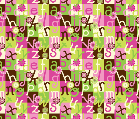 abc in pink fabric by deesignor on Spoonflower - custom fabric