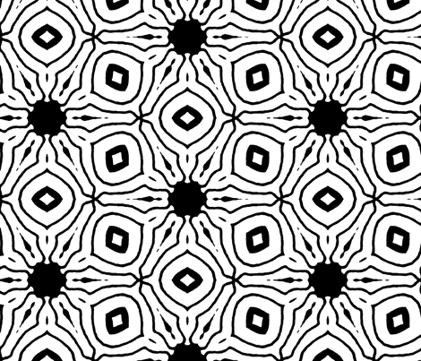 black white flower fabric by heikou on Spoonflower - custom fabric