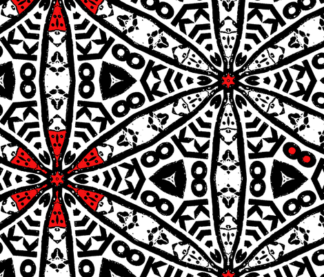 black white red fabric by heikou on Spoonflower - custom fabric