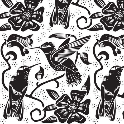 Hummingbird BW Design fabric by dianne_annelli on Spoonflower - custom fabric