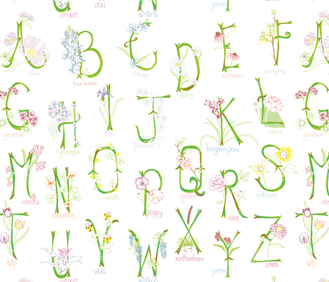 Botanical Alphabet fabric by marlene_pixley on Spoonflower - custom fabric