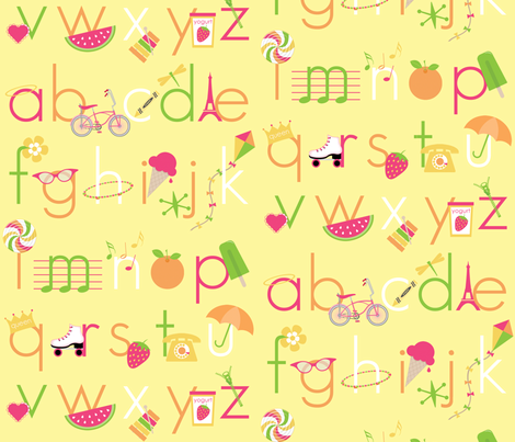 Summer Days Alphabet fabric by inktreepress on Spoonflower - custom fabric