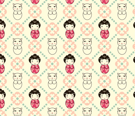Kokeshi Tiles fabric by marcelinesmith on Spoonflower - custom fabric