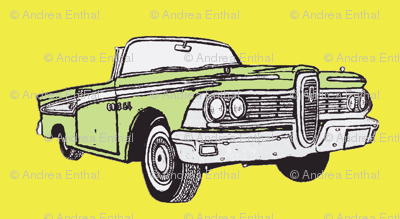 1959 Edsel Corsair convertible (green on yellow)