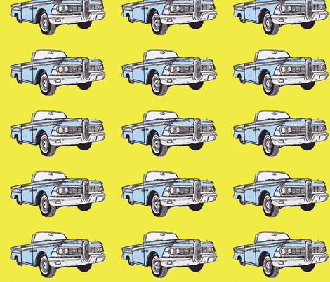 light blue 1959 Edsel Corsair convertible on yellow background fabric by edsel2084 on Spoonflower - custom fabric