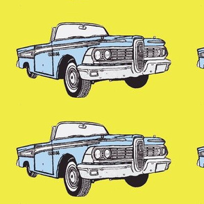 light blue 1959 Edsel Corsair convertible on yellow background
