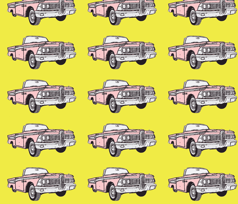pink 1959 Edsel Corsiar convertible w top down on yellow background fabric by edsel2084 on Spoonflower - custom fabric