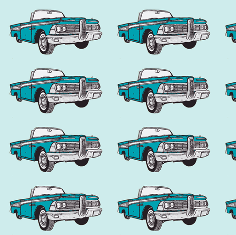 turquoise 1959 Edsel Corsair convertible with top down  fabric by edsel2084 on Spoonflower - custom fabric