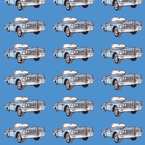 1959 Edsel Corsair convertible (blue on blue) fabric by edsel2084 on Spoonflower - custom fabric