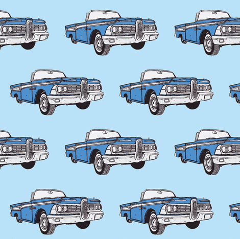 1959 Edsel Corsair convertible in blue fabric by edsel2084 on Spoonflower - custom fabric