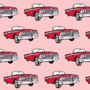 red 1959 Edsel Corsair convertible on pink background