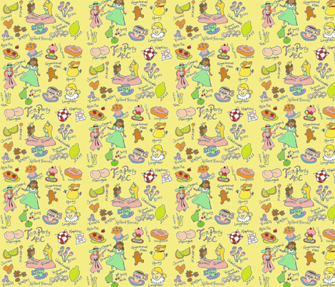 TeaParty ABC fabric by 7monsters_t_inc on Spoonflower - custom fabric
