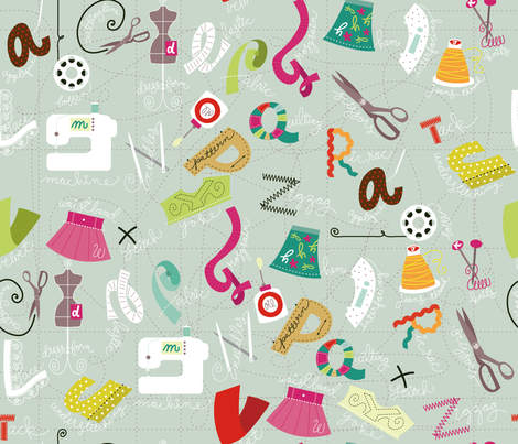 Sewing ABC's fabric by cynthiafrenette on Spoonflower - custom fabric