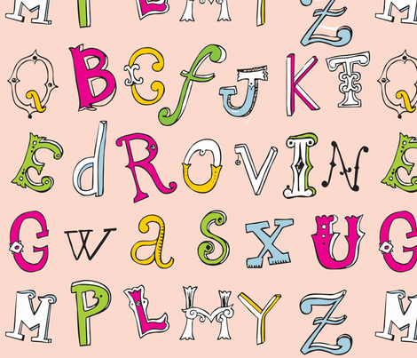 Carolina's Alphabet fabric by lucyiwa on Spoonflower - custom fabric