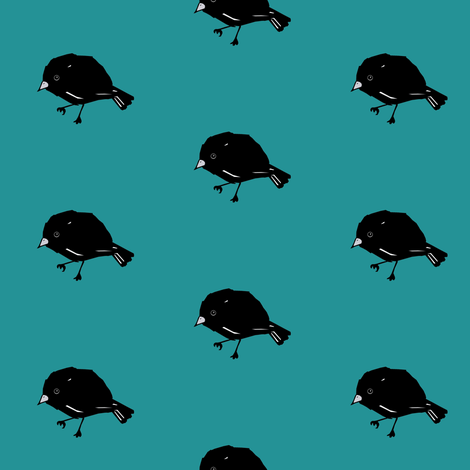 Chatham Island Black Robin fabric by pond_ripple on Spoonflower - custom fabric