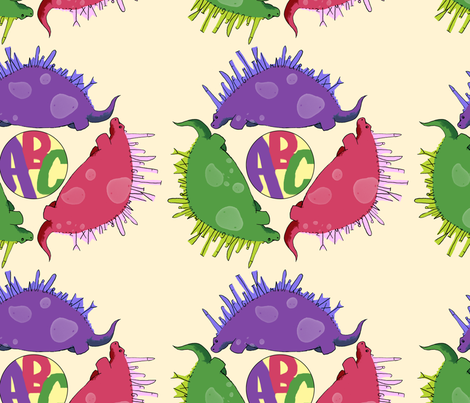 alphabetsaurus fabric by beccamaezing on Spoonflower - custom fabric