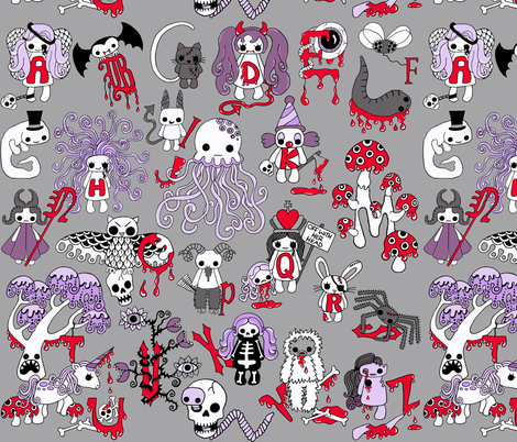 Creepy Cute Alphabet fabric by uzumakijo on Spoonflower - custom fabric