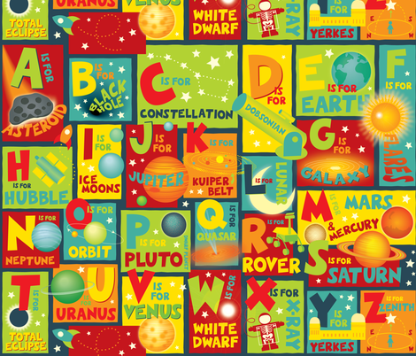 Space Alphabet fabric by jennartdesigns on Spoonflower - custom fabric