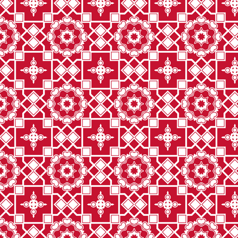 White Hearts in my Scarlet Window.  fabric by rhondadesigns on Spoonflower - custom fabric