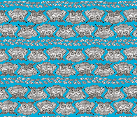 owls_in_blue_S fabric by nadja_petremand on Spoonflower - custom fabric